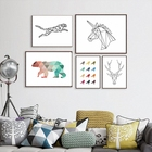 HAOCHU 5 sets DIY Original Geometric leopard Colorful Bear Bird Angel Horse Office Decor Prints and Picture For Living Room