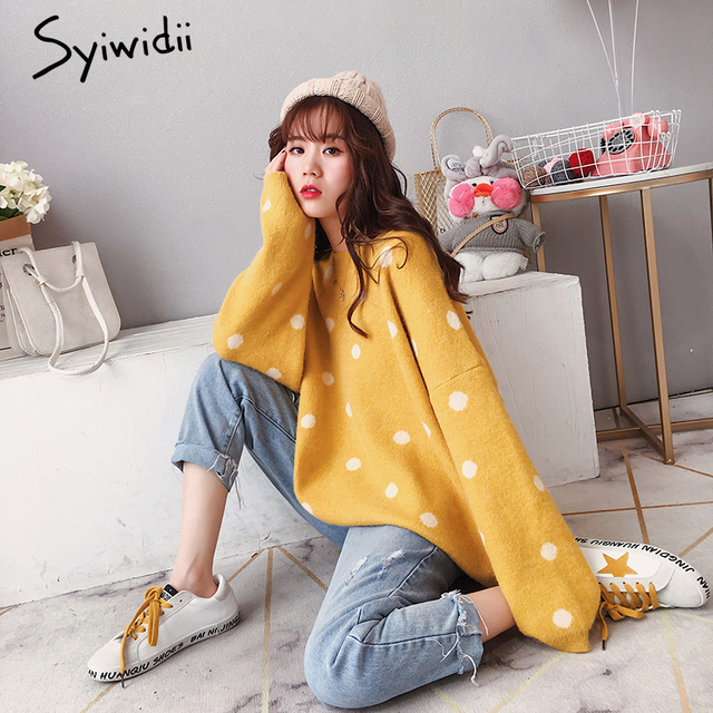 a5ad60e212 Syiwidii Mustard Yellow Women Sweater Harajuku Womens Sweaters 2018 Winter  Plus Size Knitted Sweater Korean Winter Clothes Women