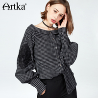 Artka 2017 Artka Autumn Winter Slash Neck Oversize Boyfriend Style Plaid Pattern Lantern Sleeves Shirt S110175Q
