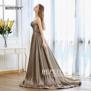 Image 4 - New Fashion 2020 Sweetheart A line Long Evening Dress With Train Robe De Soiree Sexy High Slit Glitter Gold Prom Party Gown