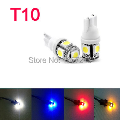 (10pcs/pack) T10 High brightness 5 LED 12V White/ Yellow/Red/Blue Car Side Wedge Tail Light Lamp Bulb Light Bulb A2 Wholesale