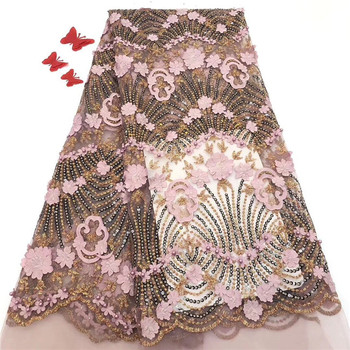 Fashionable apparel mesh cloth French net lace fabric nice 3D appliques tulle lace material for lady dress PDN5(5yards/lot)