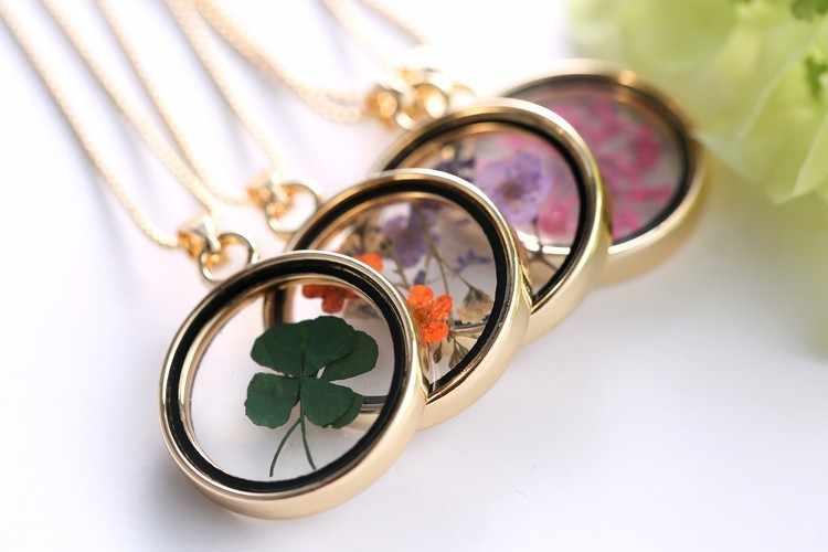 Rinhoo Buatan Tangan Musim Panas Pesona Kaca Kalung Kering Nyata Empat Beruntung Daun Semanggi Dome Kalung Wanita Kalung Gadis Hadiah Perhiasan