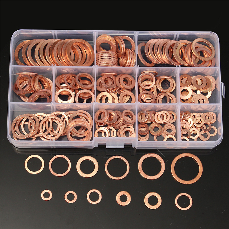 2019 Fashion 280pcs Copper Washers Set M5-m20 Solid Copper Washer Gasket Sealing Ring Assortment Kit Set With Case 12 Sizes Rapid Heat Dissipation