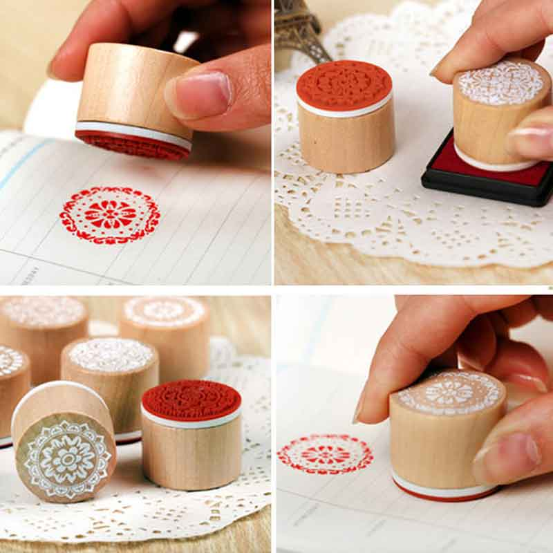6pcs Vintage Round Wooden Embossing Stamps Craft Floral Flower Pattern Rubber Stamp for DIY Scrapbooking Photo Album Decoration plastic embossing foldet flower diy scrapbooking photo album card paper craft decoration template