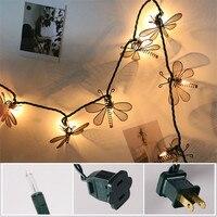 Christmas String Lights Fairy Retro Iron Strip Light Dragonfly Shaped Night Lamp Bedroom Garden Party Wedding