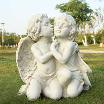 White ground  kiss lovers  resin angel Sculpture  crafts  villas  courtyards  gardens  creative Statue - DISCOUNT ITEM  10% OFF All Category