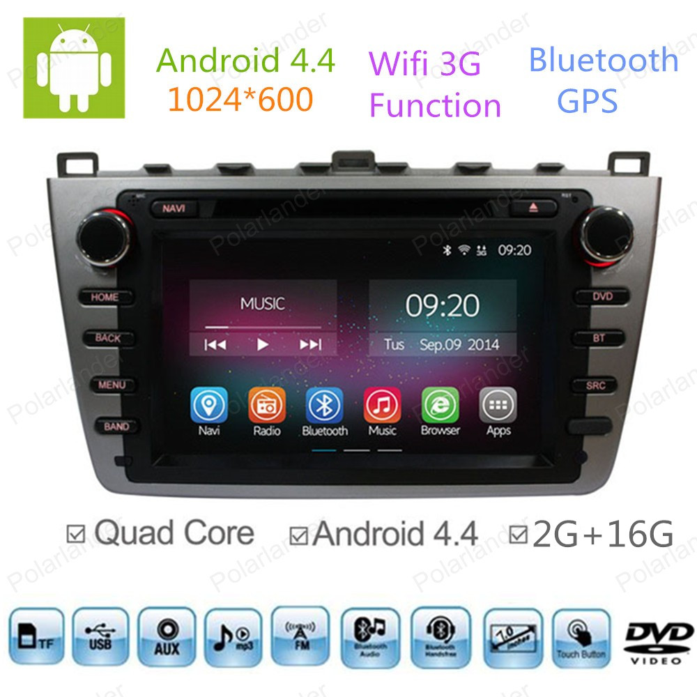 2 Din Android 4 4 Full Touch Panel For Mazda 6 2009 2010 2011 2012 GPS