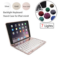 ABS Plastic Alloy Metel Ultrathin Keyboard Dock Backlight Cover Case Stand Holder For Apple IPad