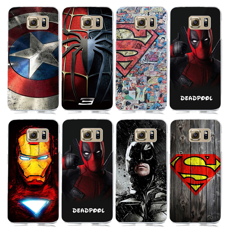 Marvel Superhero Sammlung Deadpool Avengers Fall für coque Samsung Galaxy S6 <font><b>S7</b></font> <font><b>S7</b></font> Rand Harte PC Abdeckung Spiderman Superman Fall image