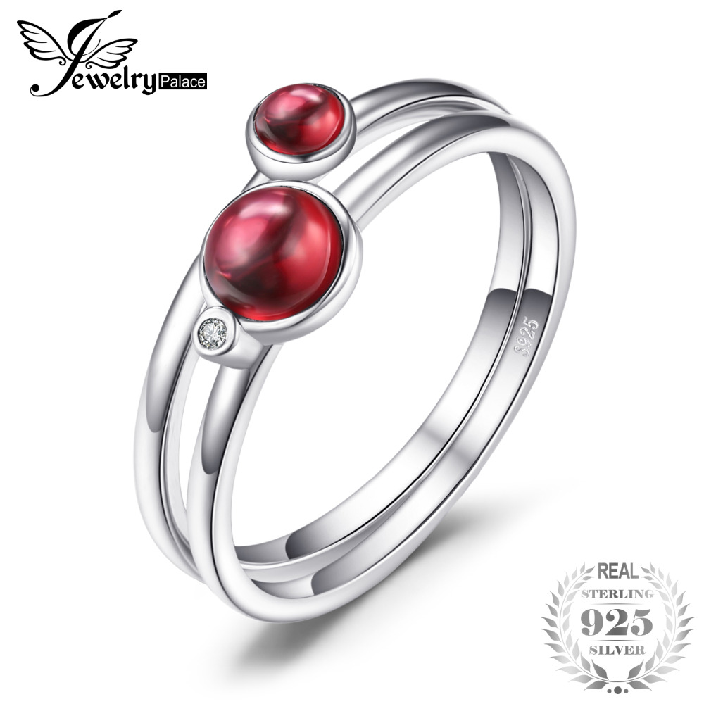JewelryPalace 0.8ct Fuchsia Genuine Garnet Band Stackable Ring Sets 925 Sterling Silver New Fashion Fine Jewelry For Women