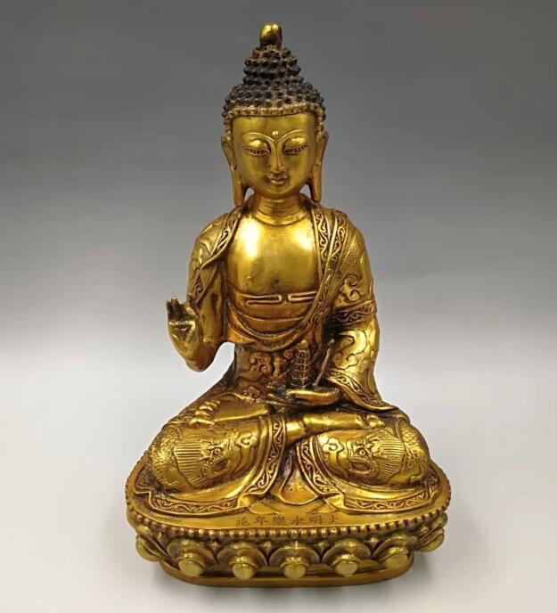 Collect exquisite brass handicraft Lotus sakyamuni Buddha statueCollect exquisite brass handicraft Lotus sakyamuni Buddha statue