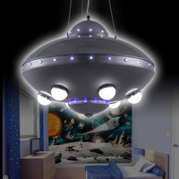 UFO aircraft chandelier children's room lamps bedroom lamps Colorful Remote Control UFO Spaceship Chandelier