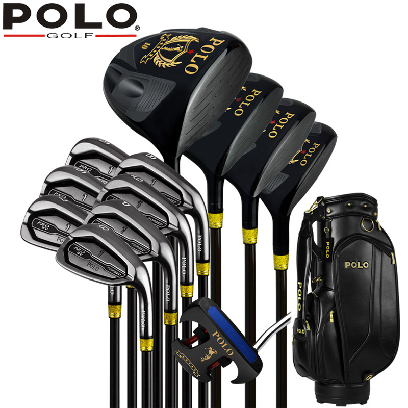 Best Authentic POLO GOLF New Cue Kit GOLF Titanium Wood Driver Stainless Steel 12Clubs Set Complete Men 12Covers PU Standard Bag pgm vs golf standard ball package bag87 23 46cm men golf plaid club bag women ball environmental pu cart bag can hold 13 clubs