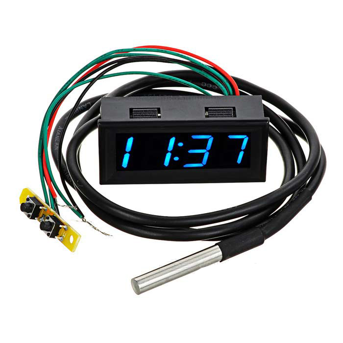 Digital DC 0-30V 12V/24V Voltmeter Thermometer Clock 3in1 Meter Gauge with 1 Meter DS18B20 Temperature Sensor Probe for Car Auto dc 2 4v 30v 2wires voltmeter mini 0 36 digital voltage gauge meter for auto car