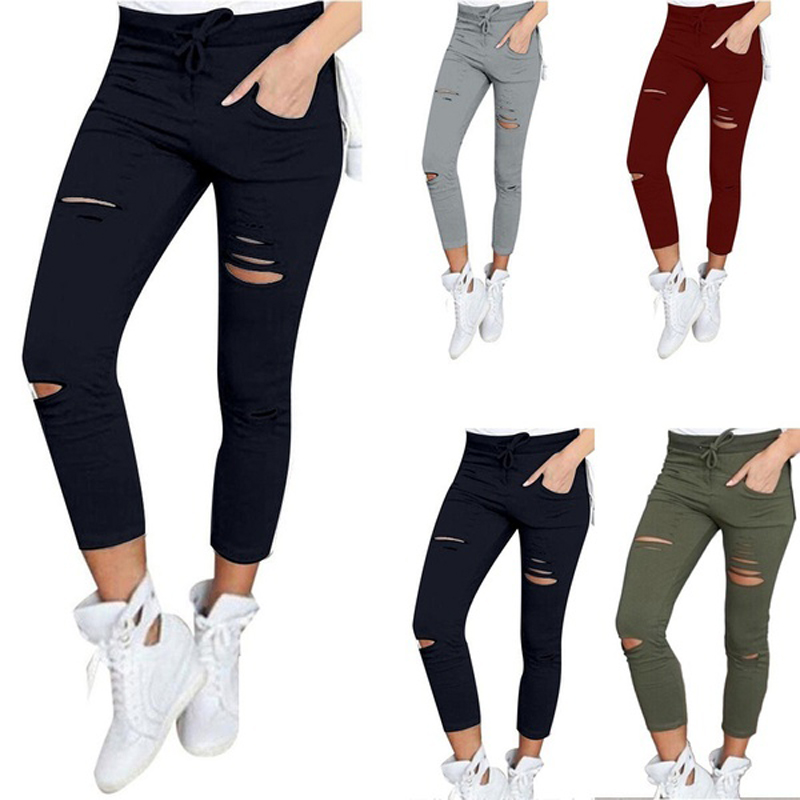 HTB1yuHSgpGWBuNjy0Fbq6z4sXXaW New Women Skinny Ripped Knee Hole Bandage Jeans Solid Ciolor Fahsion Pants High Waist Stretch Slim Pencil Trouser