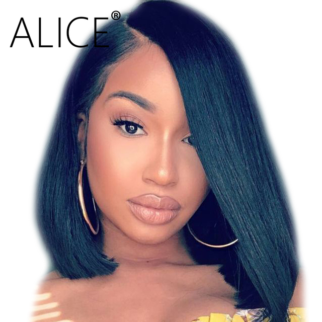 Alice Glueless Lace Front Human Hair Wigs 150 Percents Density Side Part Brazilian Remy Hair Short Bob Wigs With Baby Hair Pre Plucked by Alice