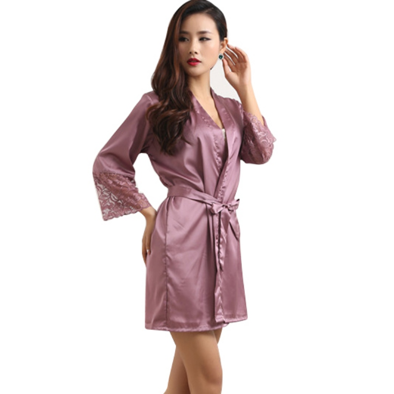 Mid-sleeve sexy women nightwear robes plus size M L XL XXL lace real silk female bathrobes LM93