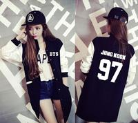 BTS KPOP 2017 Spring Autumn Coat College Men Women Cotton Letter Printed Long Section Shirt Loose