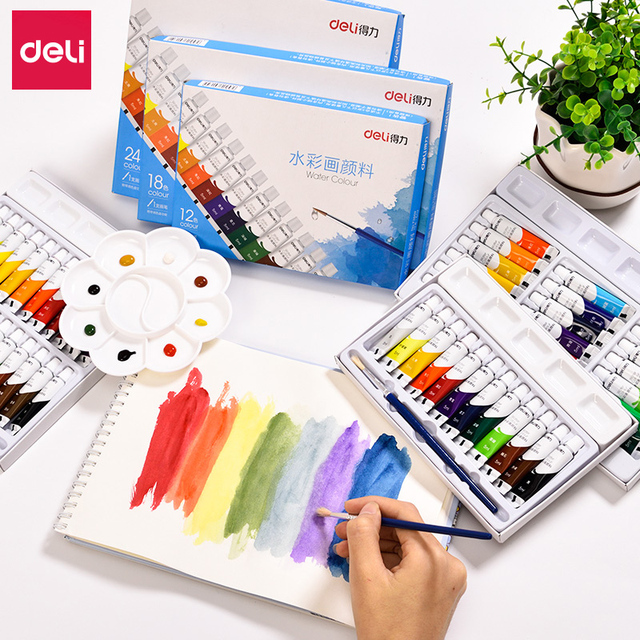 Conjunto de pintura de acuarela profesional suministros de arte para artista no tóxico lavable acuarela pintura para niños 12/18/ 24 colores de