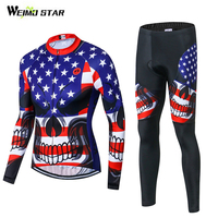 WEIMOSTAR USA Team Men's Cycling Jersey Set Long Sleeve Riding Ropa Ciclismo T shirt Bicycle Top Biking Clothing Bib Pants Set
