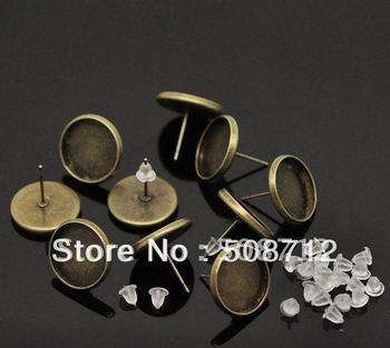 Free shipping!!! 500pcs/lot Cabochon Settings Earring Post W/ Stoppers fit 12mm,earrings Base,Eariings Post