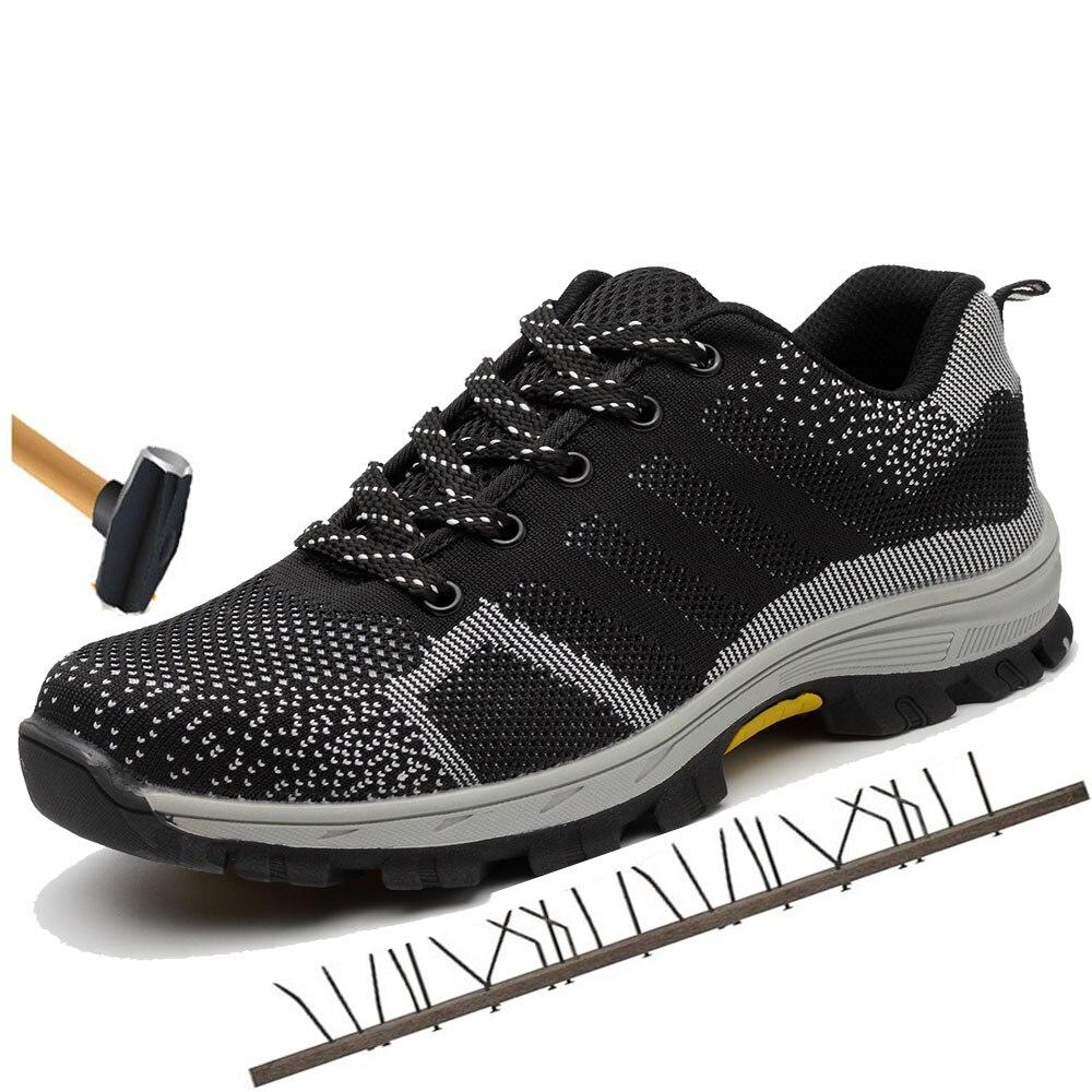 Más tamaño Men'sBreathable malla puntera de acero ZAPATOS DE TRABAJO botas hombres al aire libre antideslizante prueba de punción de acero protectora seguridad zapatos