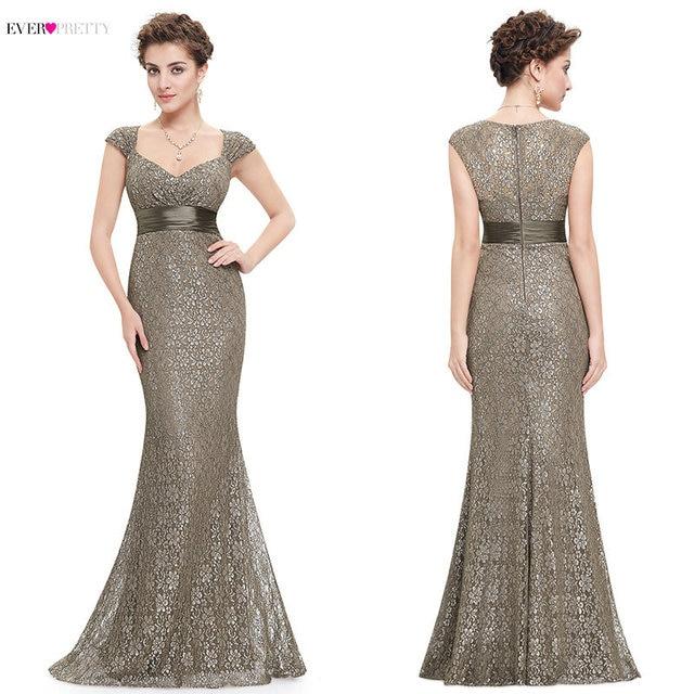 Grey Lace Mermaid Evening Dresses 2019 Ever Pretty Sparkle V Neckline Elegant Peach Collar Long Evening Party Dress robe longue Evening Dresses