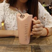 Kreative Persönlichkeit Keramik Tassen Kaffee Saft Tasse mit Stroh Löffel Paare Milch Tasse Hause Nette Becher Weihnachten Geschenke Drop Shipping