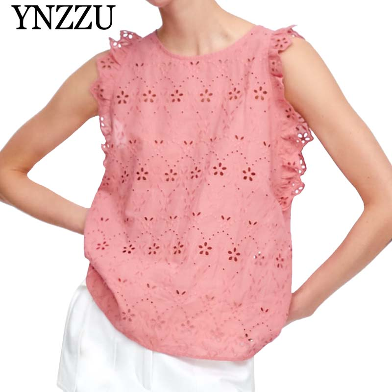 YNZZU 2019 Summer pink sleeveless women tops Ruffles loose chis back single breasted lady T shirt New arrival embroidery YT