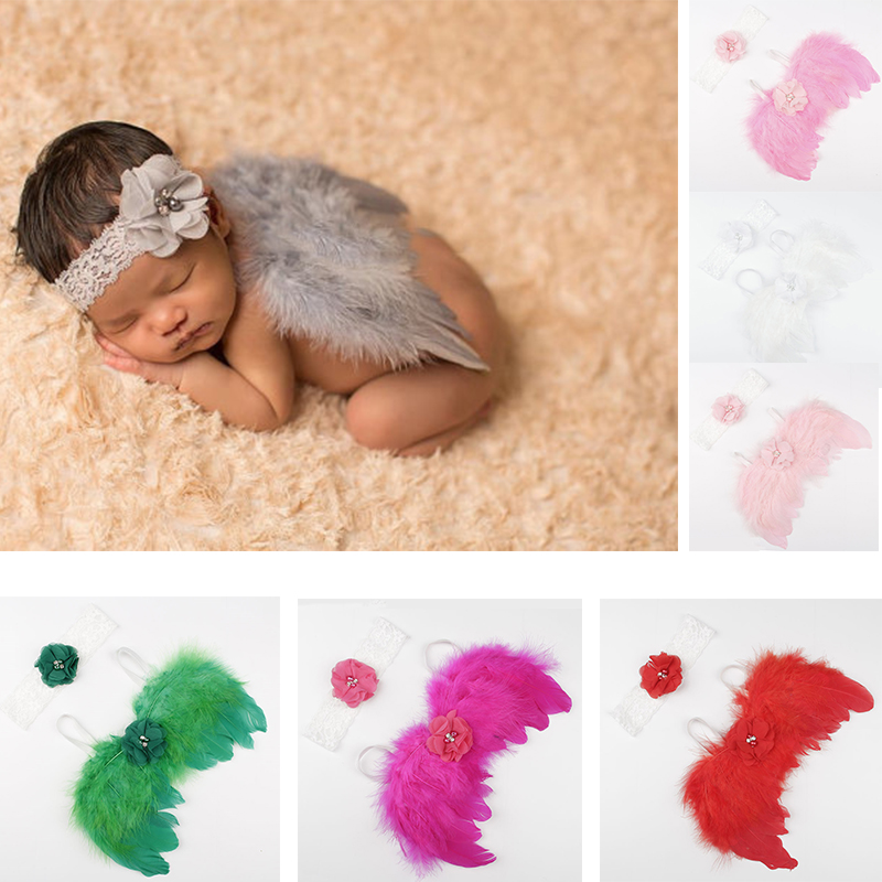 Baby Photography Props Feather Wings Flowers Headband Newborn Photo Props