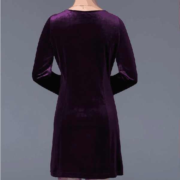 2019 جديد الخريف منتصف العمر المرأة زائد حجم المخملية اللباس طويلة الأكمام المطرزة طباعة فساتين أنيقة موري اللباس Vestidos C46