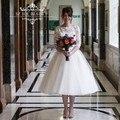 2016 Vintage 1950s Short Wedding Dress 1/2 Long Sleeve Little White Dresses Lace Tulle Puffy Bridal Gowns Vestido De Noiva