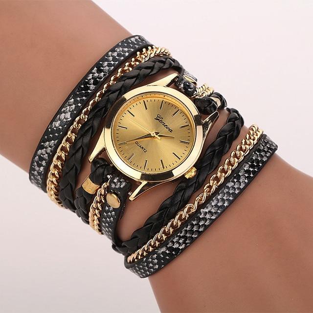 Fashion Women Bracelet Watch Vintage Clock Quartz Leather Braided Wind Wrap Anal