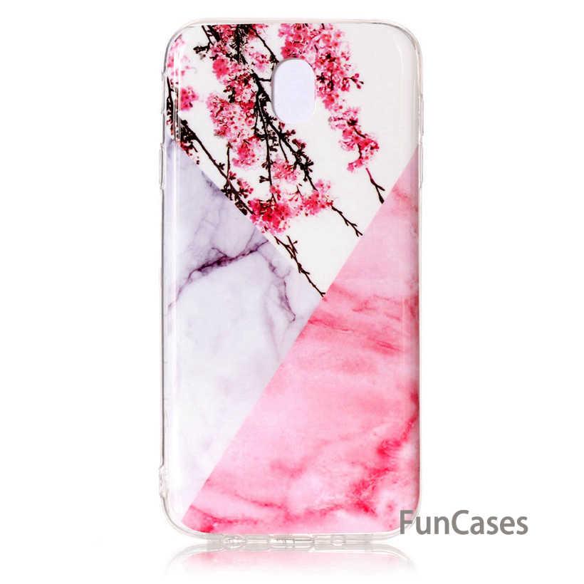 Caso Para Samsung Galaxy A8 Além de 2018 Capa De Silicone Samsung J3 J5 J7 2017 Versão UE Nota 8 Mármore Flor tampa do telefone Smsung