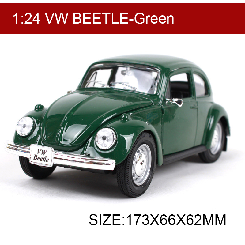 Maisto VW Beetle Green 1:24 Alloy Model Metal Racing Vehicle Play Collectible Models Sport Cars toys For Gift maisto модель автомобиля 1967 vw 1600 squareback