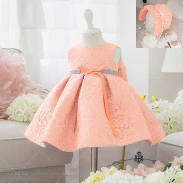 Pink Formal Infant Dresses Baby Dress Christening 1 Year Birthday