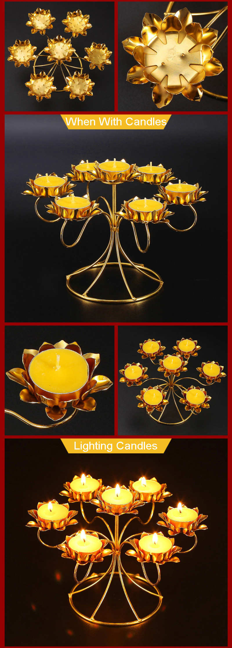 lotus shape buddha butter lamp candle holder 78