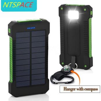 Banco de energía Solar portátil a prueba de agua, batería Solar de 10000mAh, Cargador USB Dual, cargador tipo batería externa con brújula, luz LED