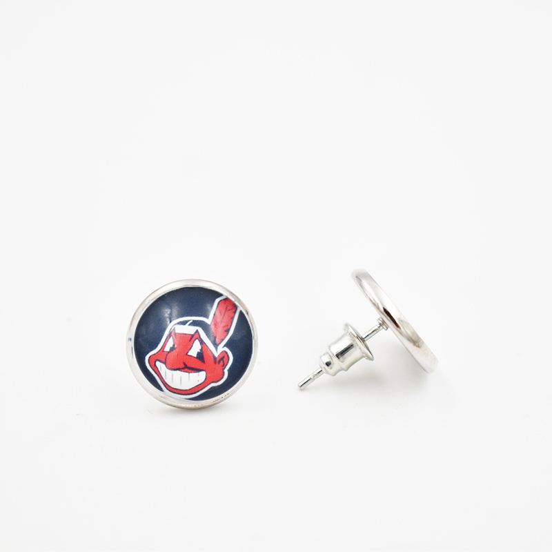 10 Pairs 2018 Stud Earrings 4 Style Cleveland Indians 12MM Glass Round Piece Earrings Ba ...