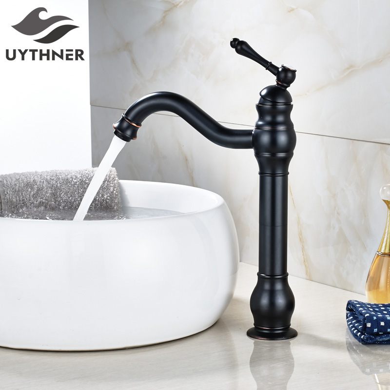 Oil Rubbed Bronze Bathroom Sink Faucet Single Handle Swivel Spout Basin Mixer Tap Deck Mounted 360 swivel kitchen faucets swivel oil rubbed bronze deck mounted mixer tap bathroom faucet basin mixer hot cold tap faucet