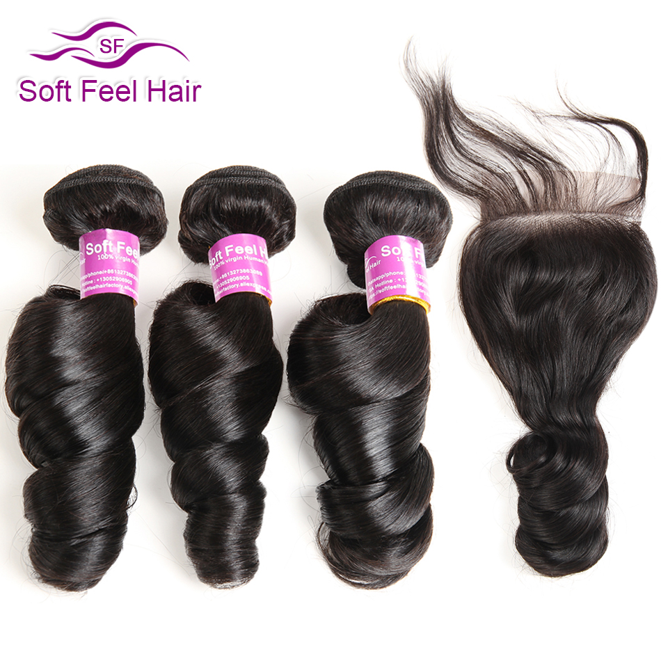 Soft Feel Hair Brazilian Loose Wave Bundles With Closure Human Hair Bundles With Closure Remy Hair