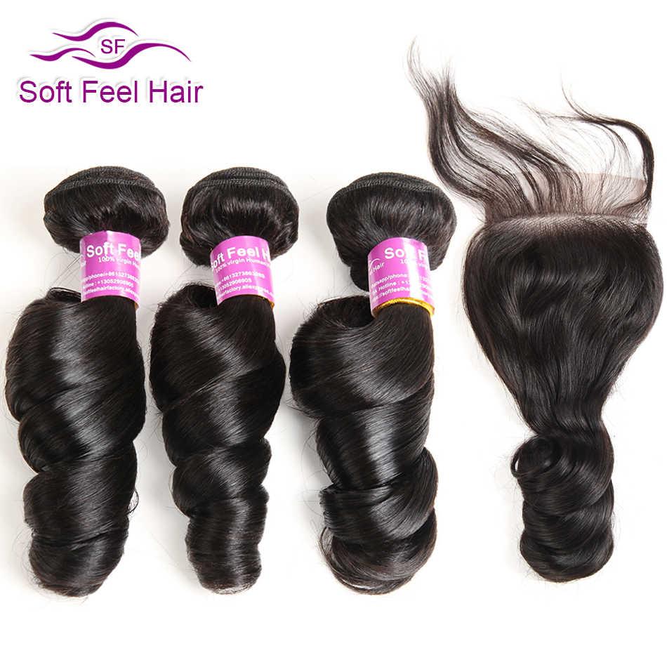 Мягкие на ощупь волосы бразильский свободные волнистые в наборе с закрытием человеческих волос пучки с закрытием Волосы remy 3 Связки с закрытием 4 шт