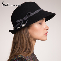 Sedancasesa 2019 New 100% Wool Felt Hat for Women Cap Winter Cloche Hats Fedoras Female Vintage Style Warm Floppy Ladies Hats