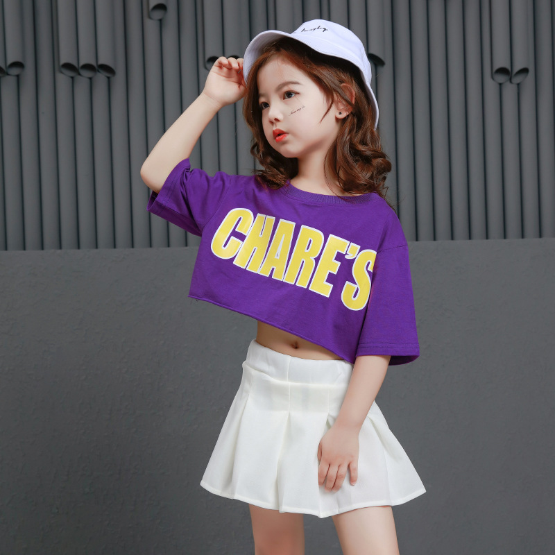Summer New Suit Fashion Dance Personality Girl Gorgeous Hip Hop Letter Short Sleeve Playful Cute White Short Skirt Suit