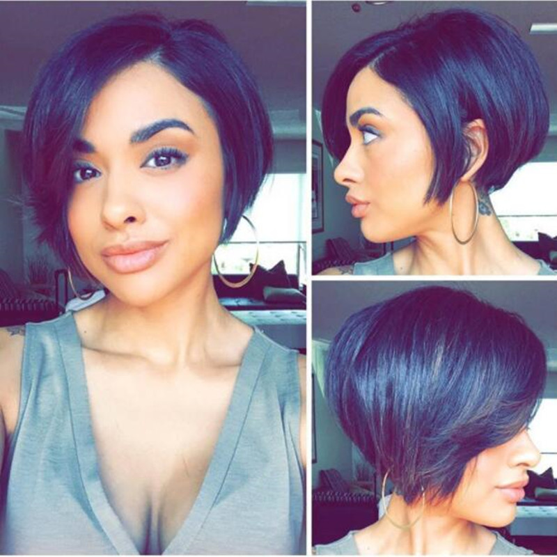 Straight Full Lace Human Hair Short Wigs Pixie Cut Bob Wigs Remy Indian Hair Glueless Full Lace Wig For Women Natural Black Hair Buy At The Price Of 80 73 In Aliexpress Com