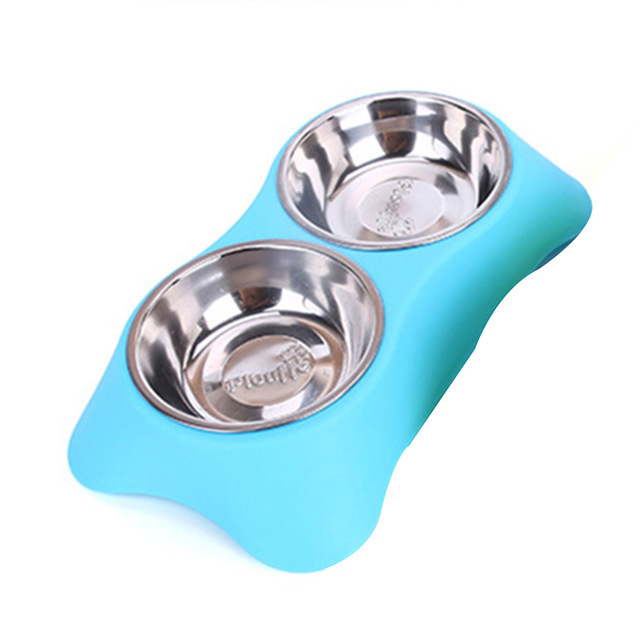 Stainless Steel Double Pet Bowls for Dog Puppy Cats Food Water Feeder Pets Supplies Feeding Dishes Dogs Bowl voerbak in Dog Feeding from Home Garden
