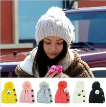 2013 new lady's fashion button twisted knitting wool warm hat cap lovely winter fashion accessories best gift