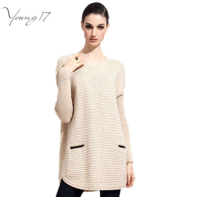 Young17 clearance sale Knitted Sweater Dress Women Long Sleeve pullover pocket sweater teen girl black/grey/Beige Loose Sweater