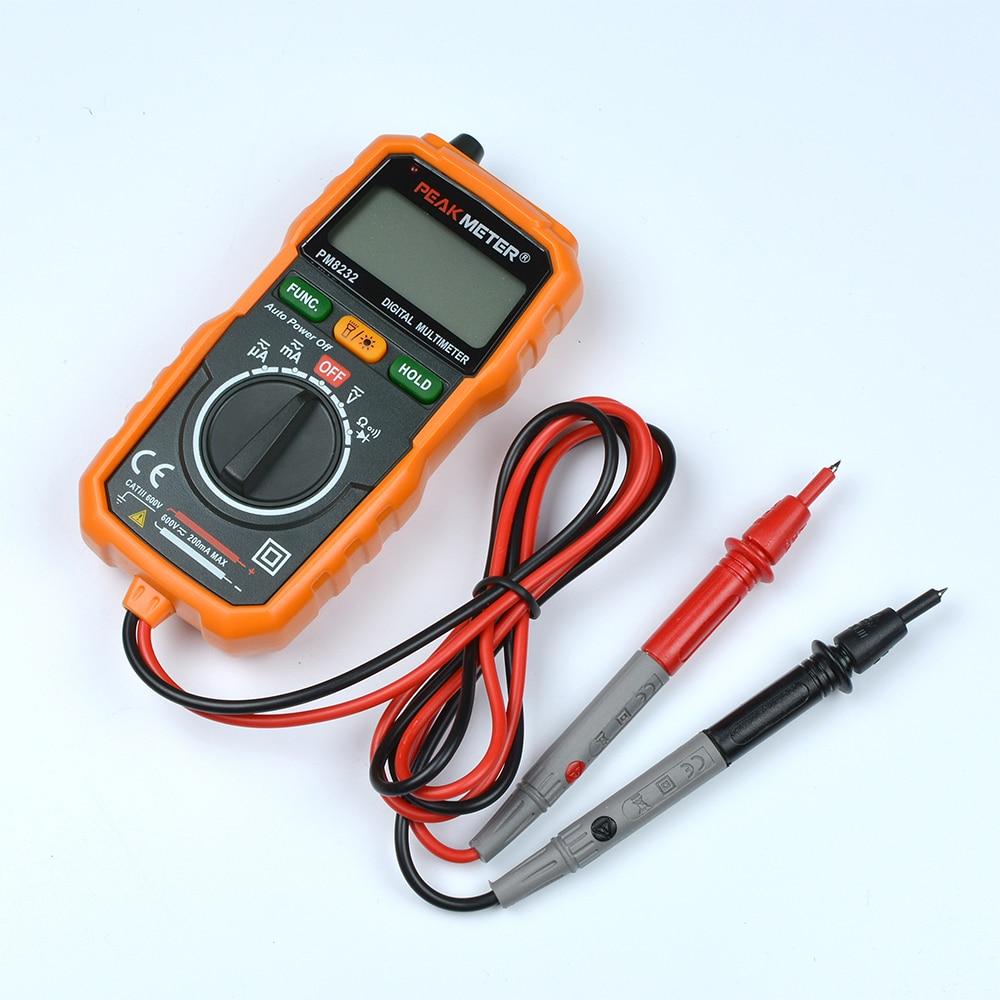 PEAKMETER ufficiale Nuova Vendita Calda Senza Contatto Mini Multimetro Digitale DC AC Tensione Corrente Tester PM8232 Amperometro Multi tester